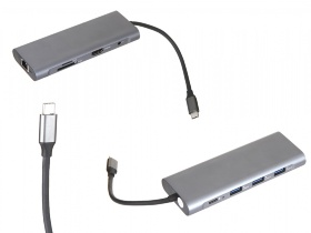 Адаптер Red Line Multiport adapter Type-C 9 in 1 Grey