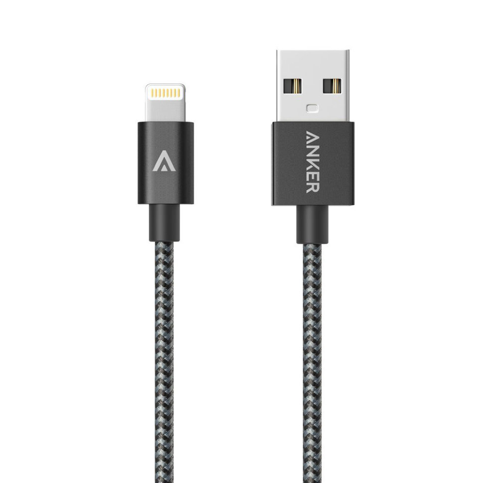 Anker Nylon-Braided MFI (A7114H11) - кабель USB to Lightning (Black)